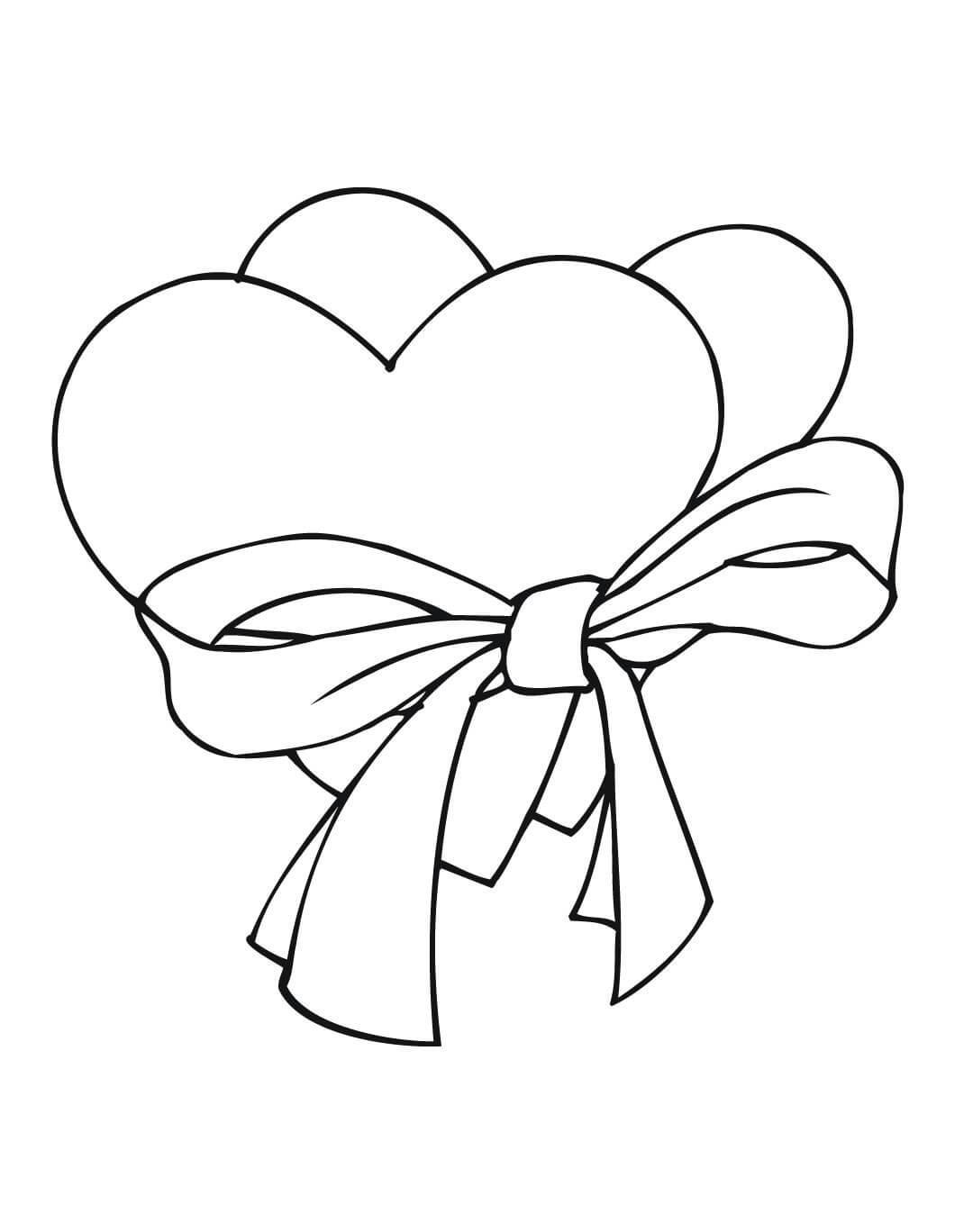 Два сердца с ленточкой Раскраски антистресс бесплатно