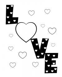 Love открытка много сердец Раскраски антистресс бесплатно