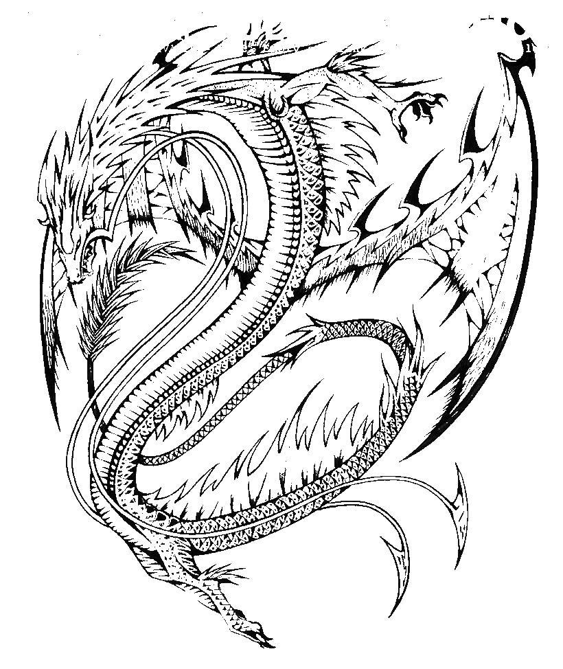 Злой дракон с шипами Лучшие раскраски антистресс
