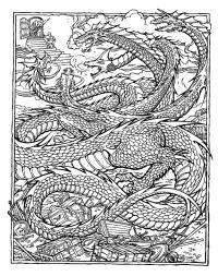 Дракон с множеством голов Антистрессовые раскраски