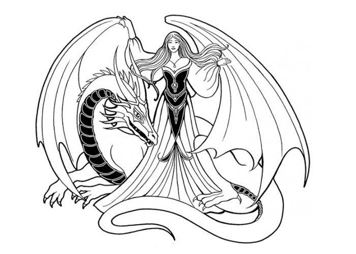Девушка дракон Антистрессовые раскраски