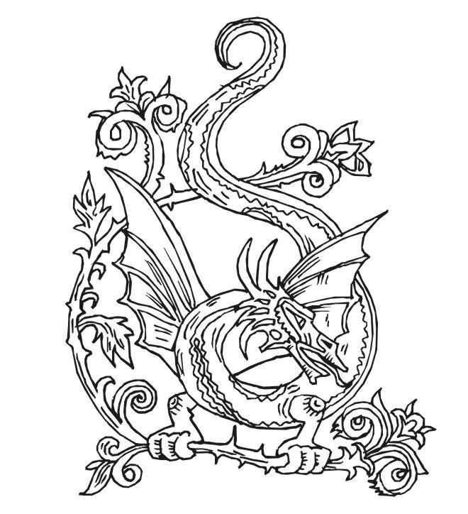 Дракон в узорах Антистрессовые раскраски