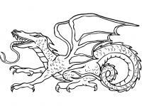 Дракон с длинным языком Антистрессовые раскраски