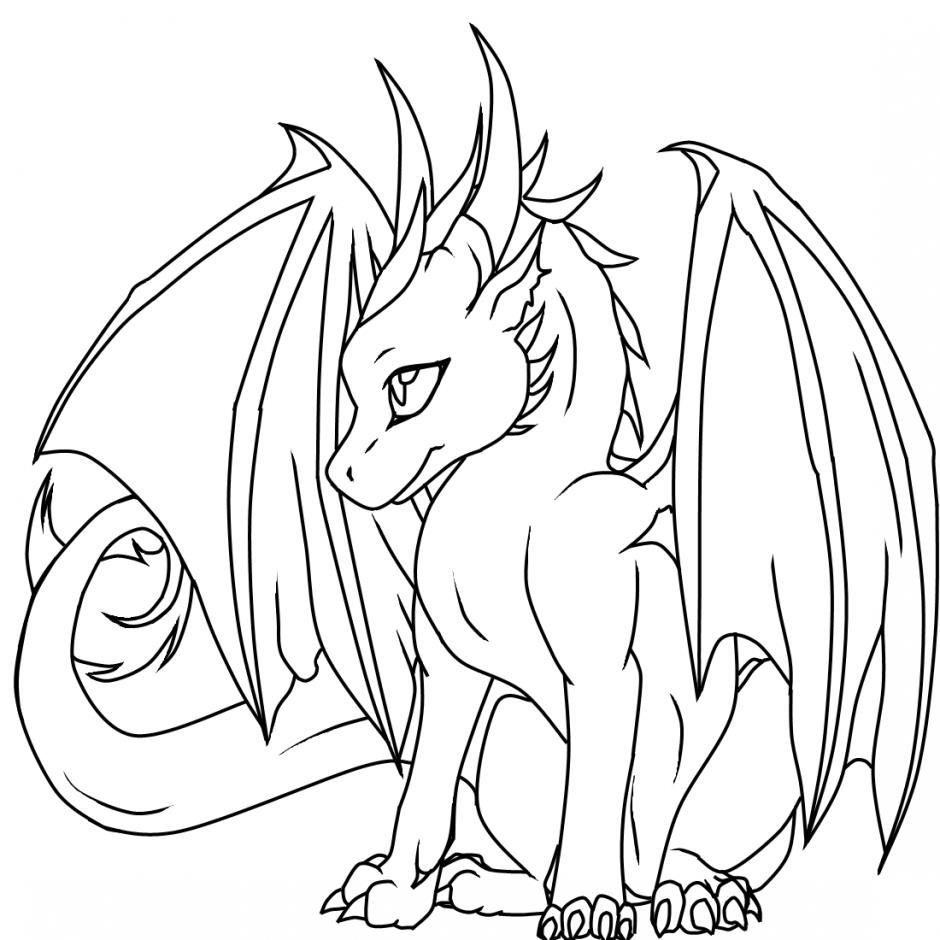 Симпатичный дракон Антистрессовые раскраски
