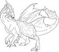 Огнедышащий дракон Антистрессовые раскраски