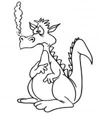 Смешной дракончик Антистрессовые раскраски