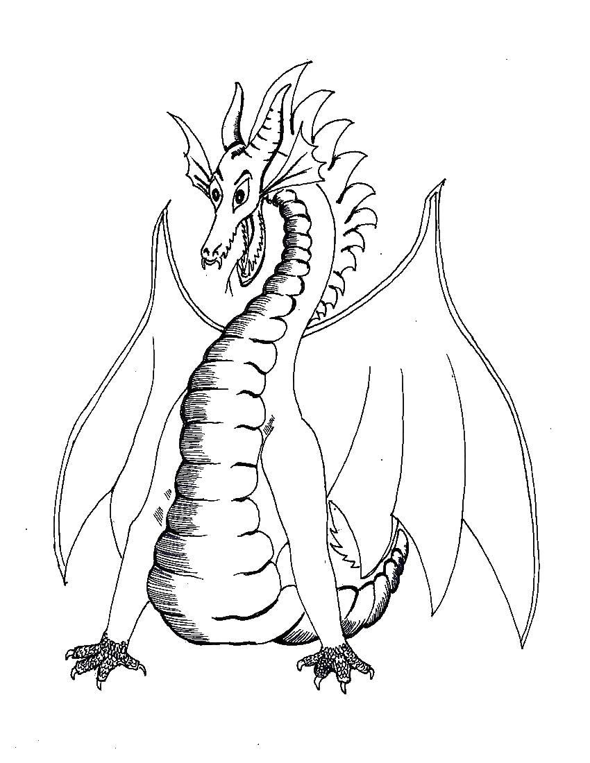 Дракон с крыльями и длинным телом Антистрессовые раскраски