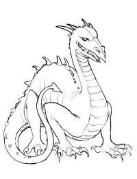 Дракон с острым хвостом Раскраски для взрослых скачать
