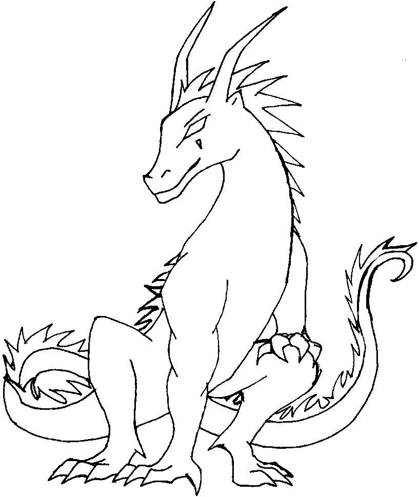 Дракон с рожками сидит Раскраски для взрослых скачать