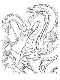 Дракон гидра Раскраски для взрослых скачать
