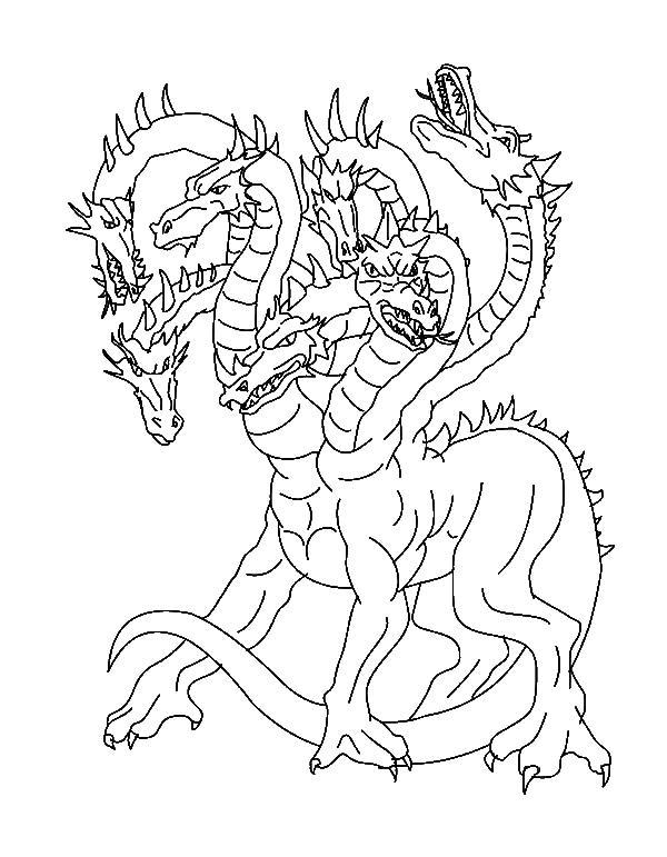 Гидра дракон Раскраски для взрослых скачать