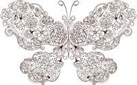 Бабочка с крыльями в цветах Картинки антистресс раскраски