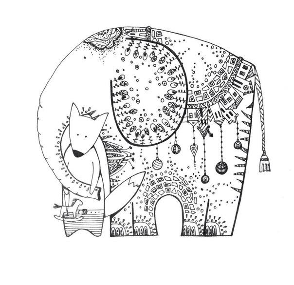 Слон и лис Раскраски для взрослых антистресс