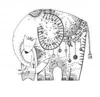 Слон и лис Раскраски антистресс фото