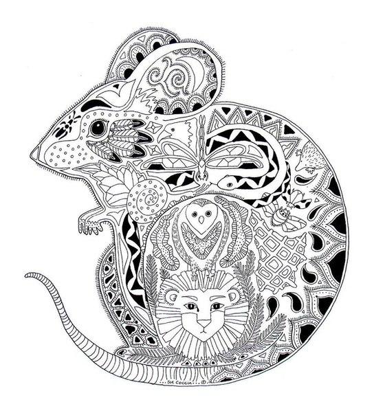 Мышка в узоре из животных Раскраски антистресс в хорошем ...